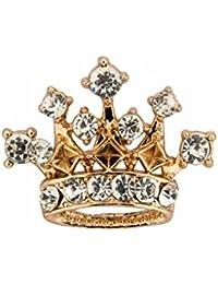 Knighthood Metal Crown with Swarovski Detailing Lapel Pin for Men(Golden,KN-2018-LP-45)