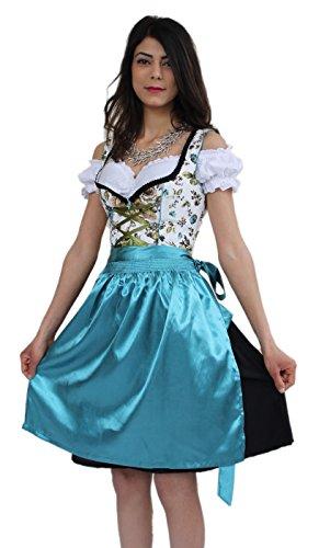 Bavarian Clothes Dirndl Midi Trachtenkleid Kleid 3 TLG mit Dirndlbluse und Schürze geblümt Türkis Grün Blau Wiesn Midi Oktoberfest Gr. 40 (Günstige Trachten Schuhe)