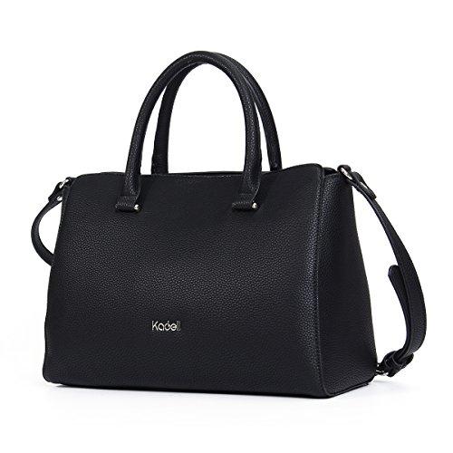 Beschlagene Pocket Kleid (Kadell PU-Leder Handtaschen Damen Taschen Luxus Umhängetasche Top Griff Geldbörse Schwarz)