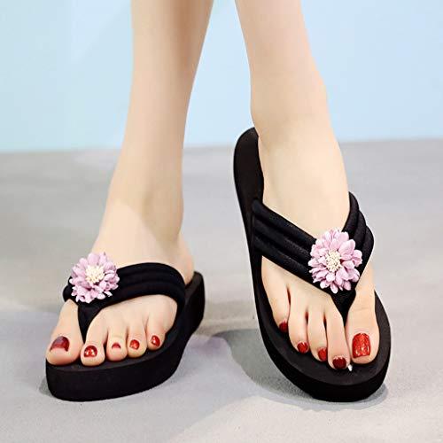 Vovotrade ✞ Casual Bohemian Clip Toe Pantofole Antiscivolo Scarpe da Spiaggia Bohemian Sandali Estivi da Donna Cunei Infradito
