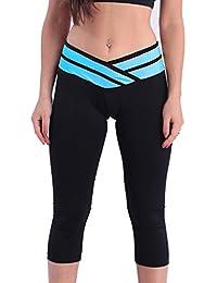 Hibote Leggings Damen High Waist Jogginghose Elatisch Yoga Hosen Frauen Push Up Sporthose Trainingshose Farbpatchwork Tights 7/8 Leggins Weich Bequem