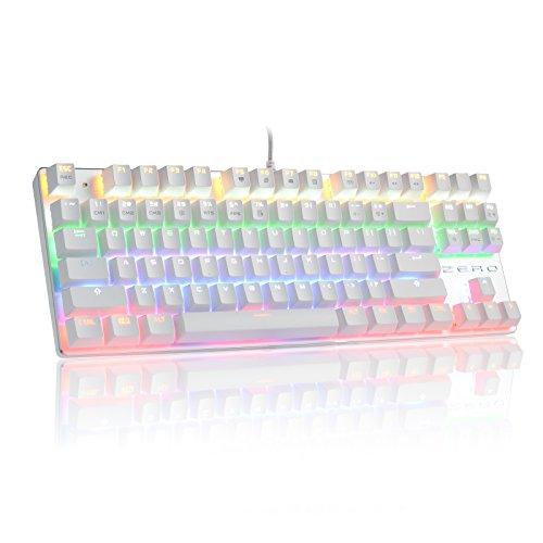 Mechanische Tastatur, Hivenets 87 Tasten Blaue Schalter RGB-Hintergrundbeleuchtung für Videospiel