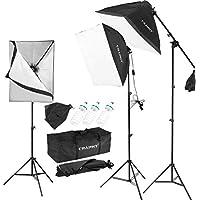 CRAPHY Softbox Focos Kit Fotografía de 3X Softbox, 3X Tripodes, 3X 135W Bombilla, 1x Bolsa de Oxford Kit de Iluminación Profesional para Estudio Fotográfico