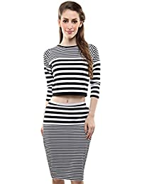 Miss Chase Women's Cotton Striped Crop Top and Skirt Set