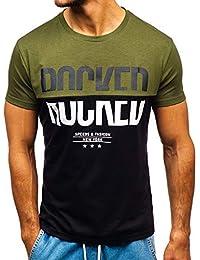 BOLF Hombre Camiseta de Manga Corta Estampada Cuello Redondo Print Estilo  Casual 3C3 795ae4cb18f