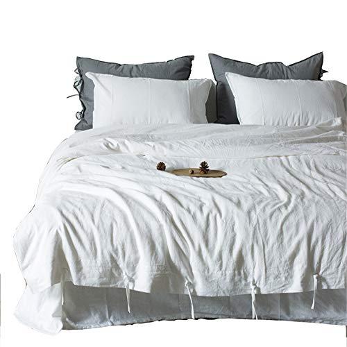 JASONN Einfache Baumwolle Leinen 4 Stück Heimtextilien Bettwäsche-Sets Bettwäsche Quilt Kissenbezug,C,2.0mbed