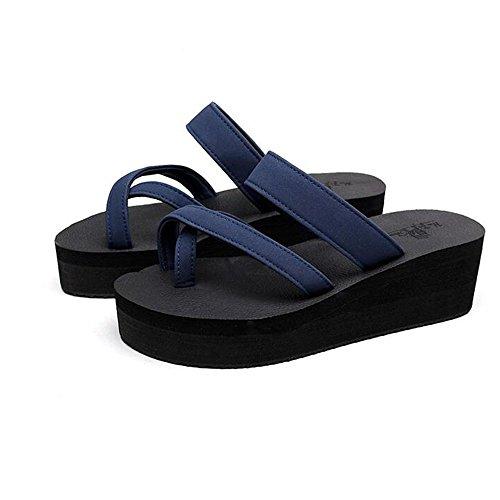 Estate Sandali Pantofole spesse Sandali con tacco alto da donna femmina adulta Pendenza di moda con pantofole Sandali antiscivolo piatti Sandali con 3 taglie Colore / formato facoltativo Blu