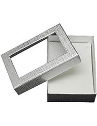 PandaHall-Rectángulo Cajas Set de cartón de joyeria de los regalos del dia de san valentin, Paquetes de para collares, pendientes y anillos, plata, 9x6.5 x 2,8 cm