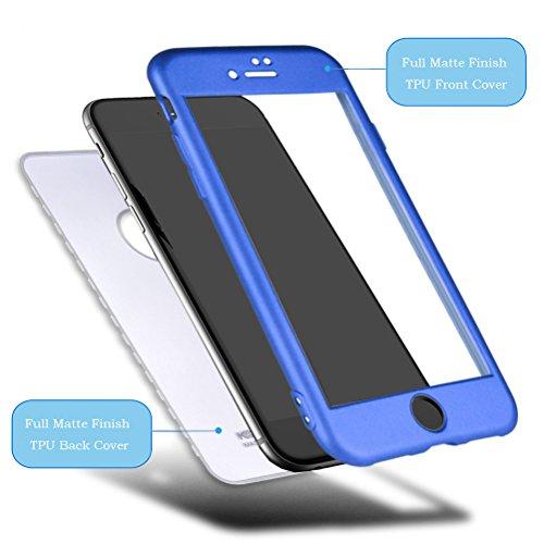 """HICASER iPhone 6s Plus 360 Grad Hülle + Panzerglas, Komplettschutz Vorder und Rückseiten Schutz Schale Ganzkörper-Koffer Soft TPU Schutzhülle für iPhone 6 Plus / 6s Plus 5.5"""" Blau Blau"""