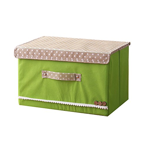 oobest faltbar Aufbewahrungsbox mit Deckel und Griffen Aufbewahrungskorb speicherbedarf Container Organizer grün