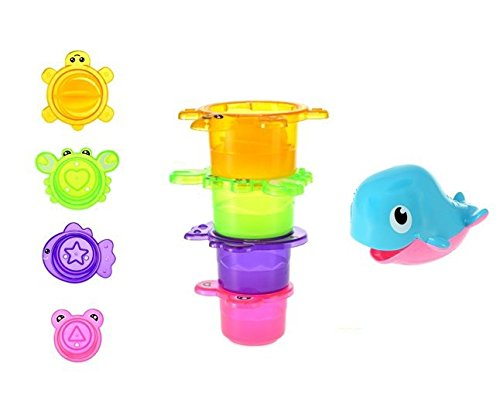 Bath Toys Stacking Cups Waterfall With Whale