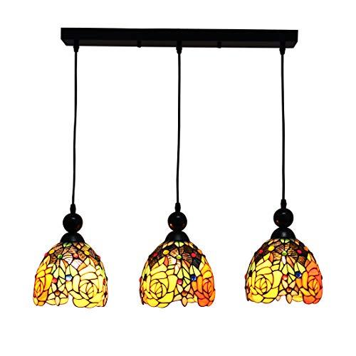 Makenier vintage style Tiffany vitrail 3 lumières Fleur Rose Abat-jour salle à manger Bar lampe suspendue Abat-jour, 17,8 cm