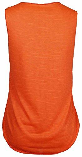Femmes Yolo You Only Live Once imprimé Femmes Sans Manches Encolure Ronde Extensible T-Shirt Débardeur Orange Fluo