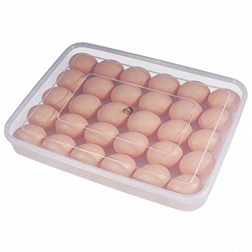 Eier Behälter, 77L 30 KühlSchrank Eier Behälter mit Deckel, Kunststoff-tragbare Eier HalterGehäuse-schützen und halten frische, stapelbare große EierSchale (klar)