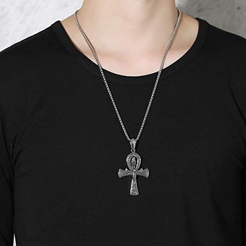 GVDHB Punk Street Schlüssel Zum Leben Ägypten Kreuz Halsketten für Männer Mittelalter Edelstahl Totem Scarab Ankh Anhänger Schmuck