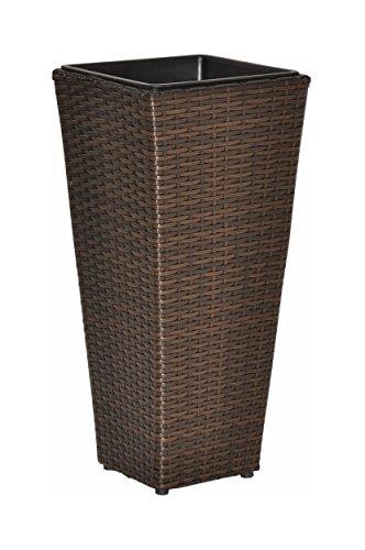 einsatz fuer pflanzkuebel nanook Sanssouci - Pflanzkübel Rattan Optik, 10L, Herausnehmbarer Einsatz - witterungsbeständig - Farbe: Braun, Höhe: 60 cm