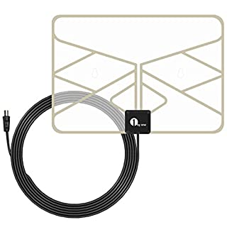 1byone 0.5 mm Paper Thin TV Aerial Amplified Indoor TV Antenna Transparent Window Aerial with 3 Meters High Performance Cable