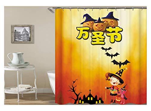 Knbob Duschvorhang Wasserfest Halloween Theme Kürbis Bat Und Hexe Bunt Duschvorhang Inkl. Duschvorhangringe Bunt 165X200Cm