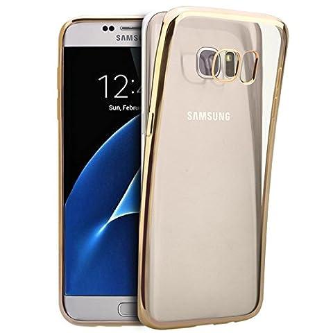 Coque Galaxy S7 [Ultra Slim] [Anti-Choc] TPU Gel Panneau Flexible Transparent Bumper Placage Coque de protection pour Samsung Galaxy