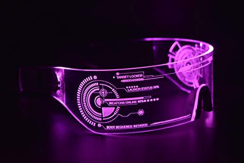 ASVP Shop Cyberpunk Sonnenbrille mit LED-Beleuchtung, perfekt für Cosplay und Festivals, Cybergoth (Rose)