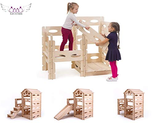 KateHaa Build & Play Montessori wooden playhouse set for kids, kids playroom, eco friendly building block, wooden toy for toddlers, natural modern -
