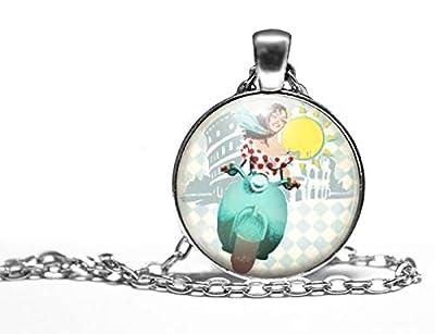 """Collier cabochon, sautoir illustré""""la dolce vita"""", parure, cadeau noel, cadeau femme, cadeau saint valentin, idée cadeau, cadeau anniversaire, argent (ref.64a)"""