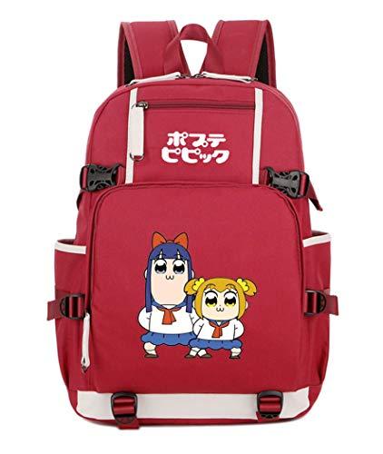 Cosstars Pop Team Epic Anime Mochila Escolar Estudiante Bolso de Escuela Backpack Mochila para Portátil Rojo-4
