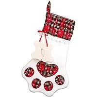 Weihnachtssocken-Geschenk-Beutel-hängende Strumpf-Geschenk-Halter-Taschen-Kamin-Baum-Dekor-Katzen-Hundetatze für Haustiere