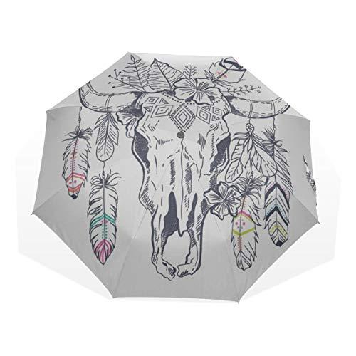Paraguas de Viaje Tribal Étnico Cruzado Plumas Flechas Antivibrante Compacto 3 Plegado Arte Ligero Paraguas Plegables (impresión Exterior) Lluvia a Prueba de Viento Paraguas de protección Solar para