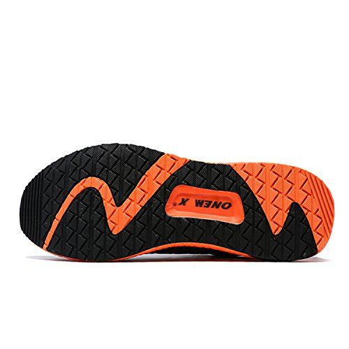 Onemix laufschuhe Herren Damen Atmungsaktives Mesh-Schuhe Bequem Sneaker Unisex Schwarz / Orange