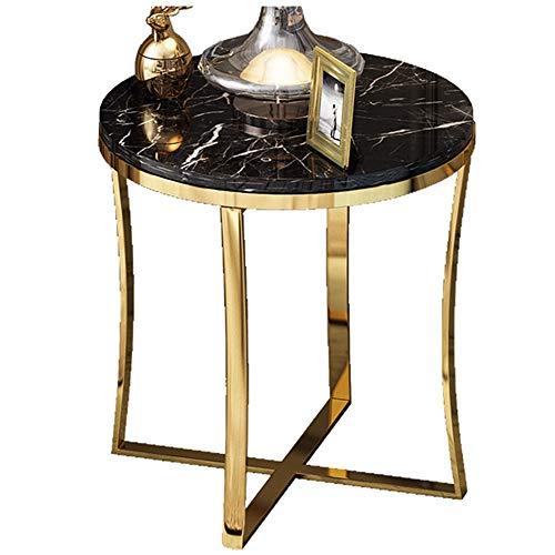 Table Basse Ronde/Table Basse de Salon, matériel en Bois Exquis, Meubles de décoration de Bureau de Maison de marbre de Salon, Noir (47 × 47 × 55,5 cm)