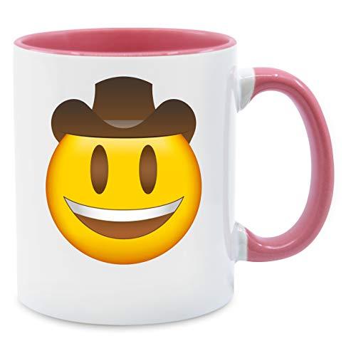 Statement Tasse - Emoji Cowboy-Hut - Unisize - Rosa - Q9061 - Kaffee-Tasse inkl. Geschenk-Verpackung (Gaucho Kostüm)