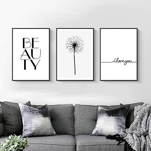 Personalidad Blanco y negro Diente de león Lienzo Pintura Minimalista Letras Impresión de póster Arte de la pared Imágenes Decoración del dormitorio- 40x50 cm sin marco
