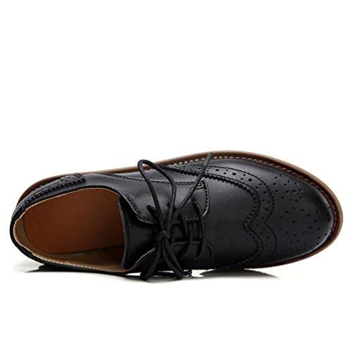 JRenok Chaussures de Ville Femme Brogues Derbies Baskets en Cuir Mocassins Compensé Confort Antidérapante Noir Rouge Marron Noir