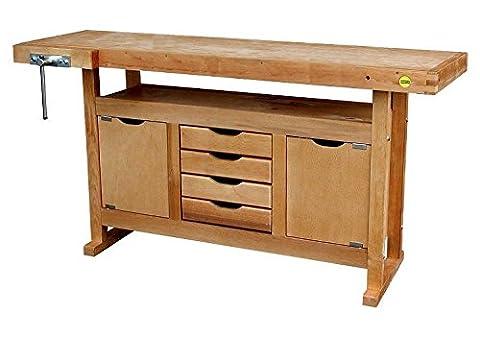 Outifrance 0013115 Etabli bois avec caisson 2 porte/4 tiroirs 1,5