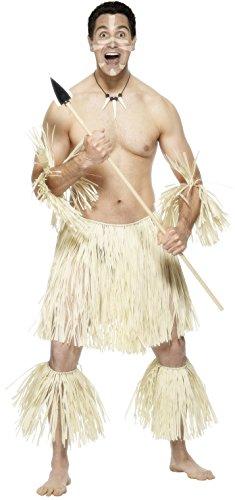 Smiffys, Herren Zulu Krieger Kostüm, Rock, Fußspangen und Armbänder, One Size, 30006 (Zulu Krieger Kostüm)