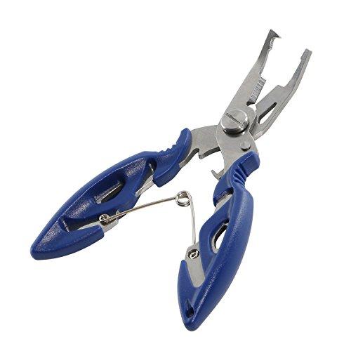 Pesca alicates tijeras Braid Línea cortador Remover gancho de acero inoxidable Anillo de pescado Tackle Retire herramienta, azul