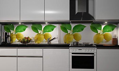 Küchenrückwand-Folie Zitronen Klebefolie Spritzschutz Küche Fliesenspiegel Möbel Rückwand selbstklebend   mehrere Größen   DIY