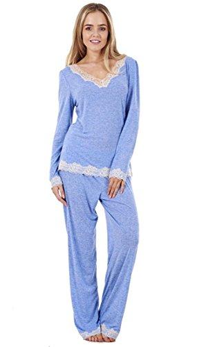 ladies stunning soft pyjama set long sleeve pj's womens lace nightwear - 41aD4YC 15L - Ladies Stunning Soft Pyjama Set Long Sleeve PJ'S Womens Lace Nightwear