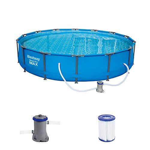 Bestway Steel Pro MAX Frame Pool Set, rund 427 x 84 cm Stahlrahmenpool-Set mit Filterpumpe, blau