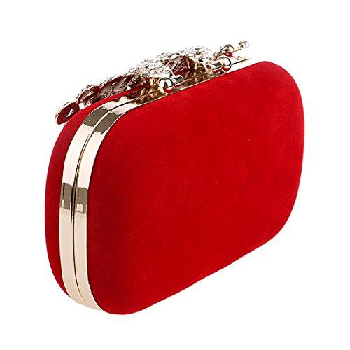 Frauen Diamante verkratzte Strass Pfau Samt Party Clutch Abendtaschen rot