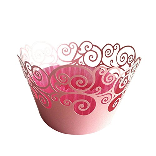 joyliveCY 50pcs Wolke Design Style Pearly Papier Vine Spitze Cup Cake Wrappers Dekoration Rosa