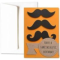 Have a fan(tachetic) birthday - hipster - moustache - carte de voeux avec enveloppe (15 x 10,5 cm) - carte faite à la main - blanc à l'intérieur