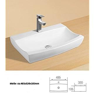 Cerámica lavabo pequeño rectangular blanco lavabo cerámica 48,5x 32x 10,5cm