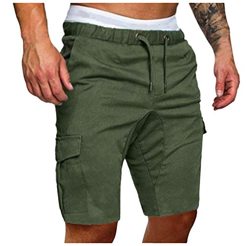 Cargo Shorts Herren Chino Kurze Hose Sommer Bermuda Sport Jogging Training Stretch Shorts Fitness Vintage Regular Fit Sweatpants Baumwolle Qmber Lässige einfarbige Gurttasche Grau Schwarz(AG,XL) -