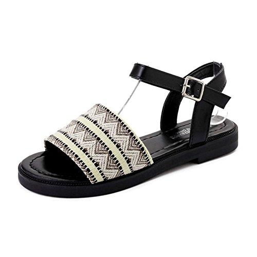 Sommer,ein wölbungsgürtel,flach,damen sandalen/joker damenschuhe fashion-A Fußlänge=22.3CM(8.8Inch) (Ted Baker-flache Sandalen)
