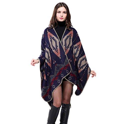 Winter Übergroße Dicke Warme Plaid Schal Schal Dual-Use Herbst und Winter Weibliche Lätzchen Split Dicken Mantel (Farbe : Bunte)