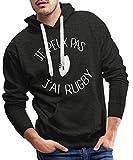 Je Peux Pas J'Ai Rugby Sweat-Shirt à Capuche Premium pour Hommes, XXL, Charbon