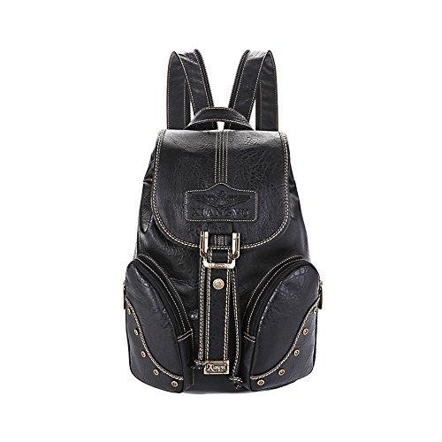 Lycailcy  LYC-Lycailcy-A05-5, Sac à main porté au dos pour femme Marron Light Brown(10.2 x 5.9 x 14.2 inches) taille unique Black(10.2 x 5.9 x 14.2 inches)