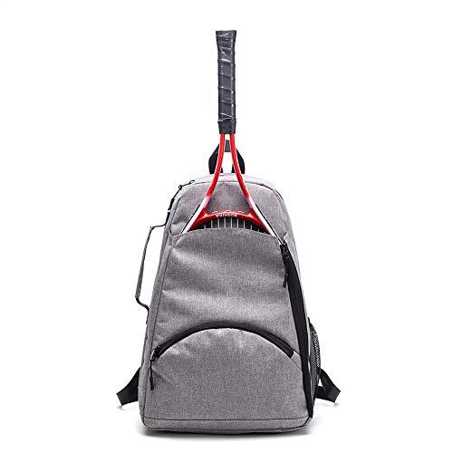 Tennis-Rucksack, Tennisschläger-Halterung, große Kapazität, Tennis- und Schläger-Sporttasche, 36 l, für Tennis/Schläger/Squashausrüstung für Herren, Damen und Jugendliche, grau, 12